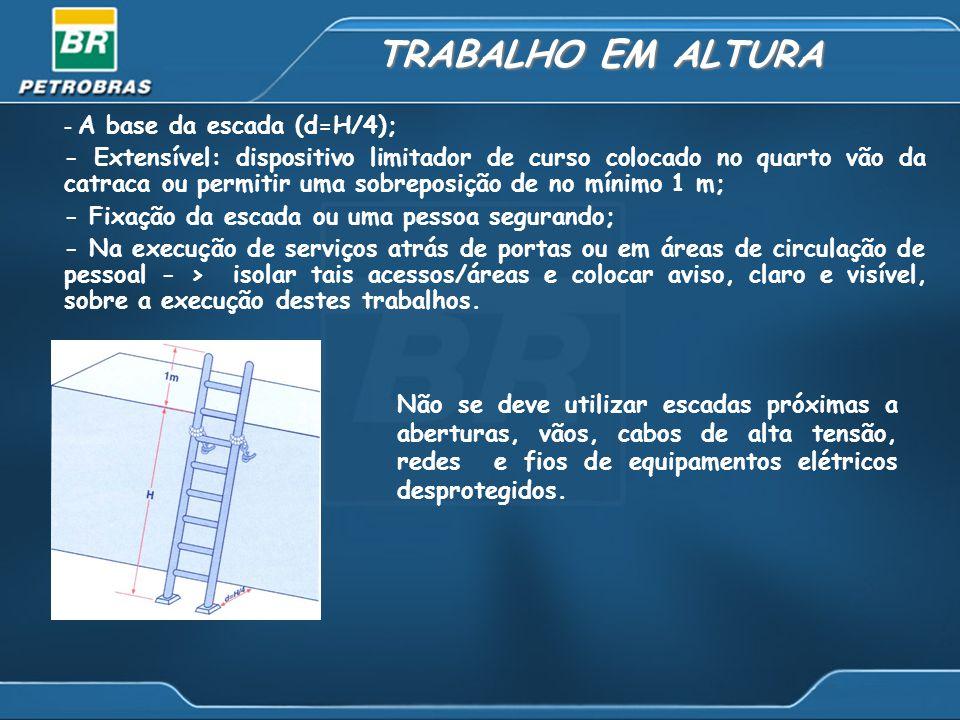 TRABALHO EM ALTURA - A base da escada (d=H/4);