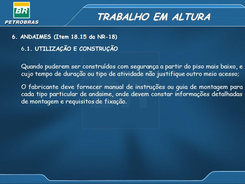 TRABALHO EM ALTURA 6. ANDAIMES (Item 18.15 da NR-18) 6.1. UTILIZAÇÃO E CONSTRUÇÃO.