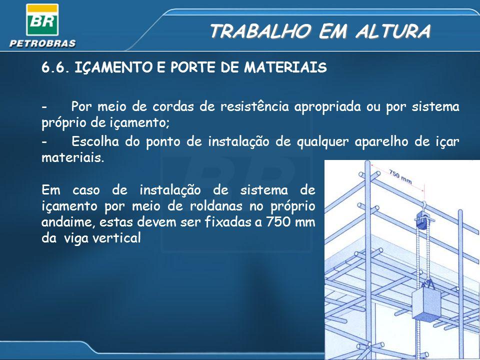 TRABALHO EM ALTURA 6.6. IÇAMENTO E PORTE DE MATERIAIS