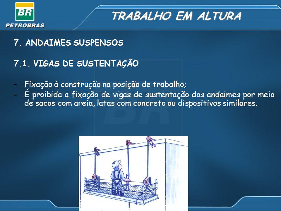 TRABALHO EM ALTURA 7. ANDAIMES SUSPENSOS 7.1. VIGAS DE SUSTENTAÇÃO