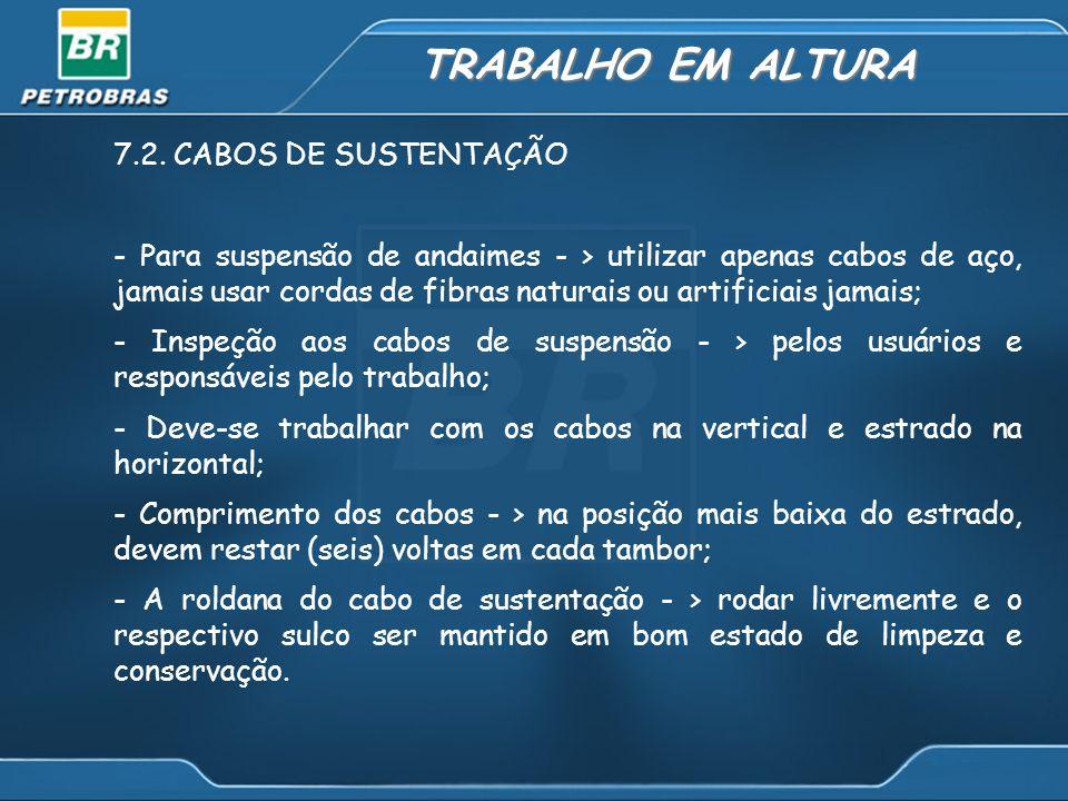TRABALHO EM ALTURA 7.2. CABOS DE SUSTENTAÇÃO