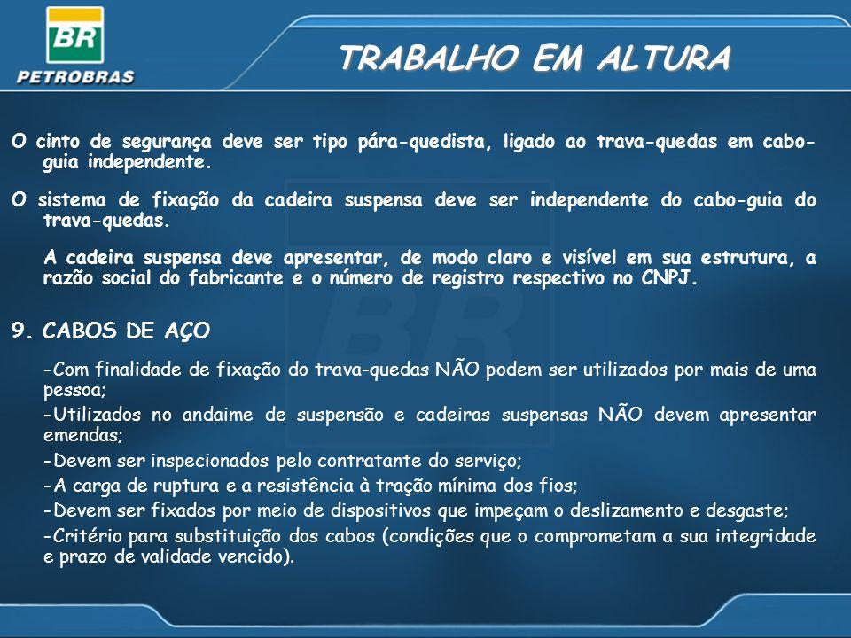 TRABALHO EM ALTURA 9. CABOS DE AÇO
