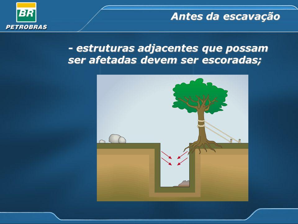 Antes da escavação - estruturas adjacentes que possam ser afetadas devem ser escoradas;