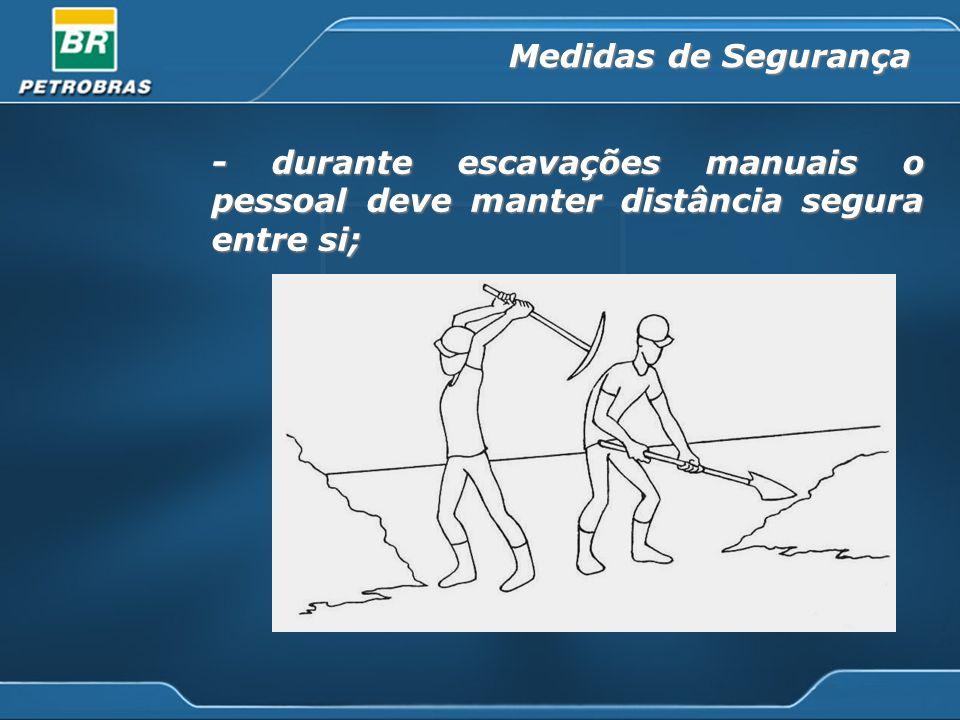 Medidas de Segurança - durante escavações manuais o pessoal deve manter distância segura entre si;