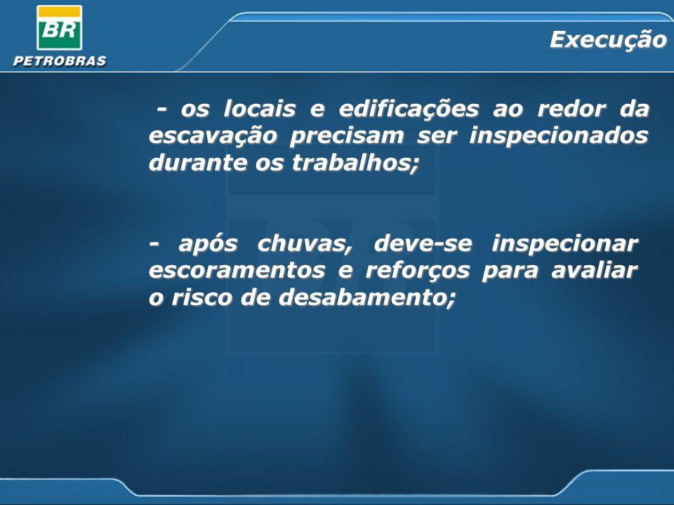 Execução - os locais e edificações ao redor da escavação precisam ser inspecionados durante os trabalhos;
