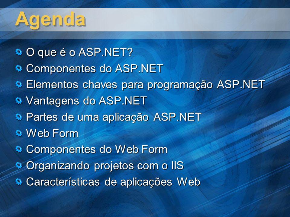 Agenda O que é o ASP.NET Componentes do ASP.NET