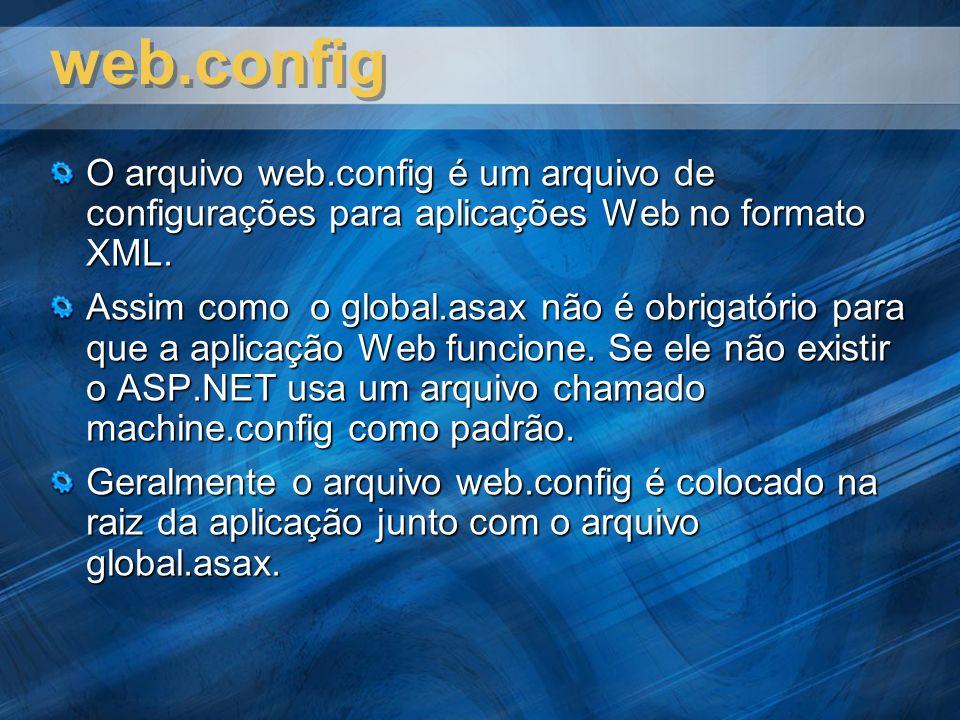 web.config O arquivo web.config é um arquivo de configurações para aplicações Web no formato XML.
