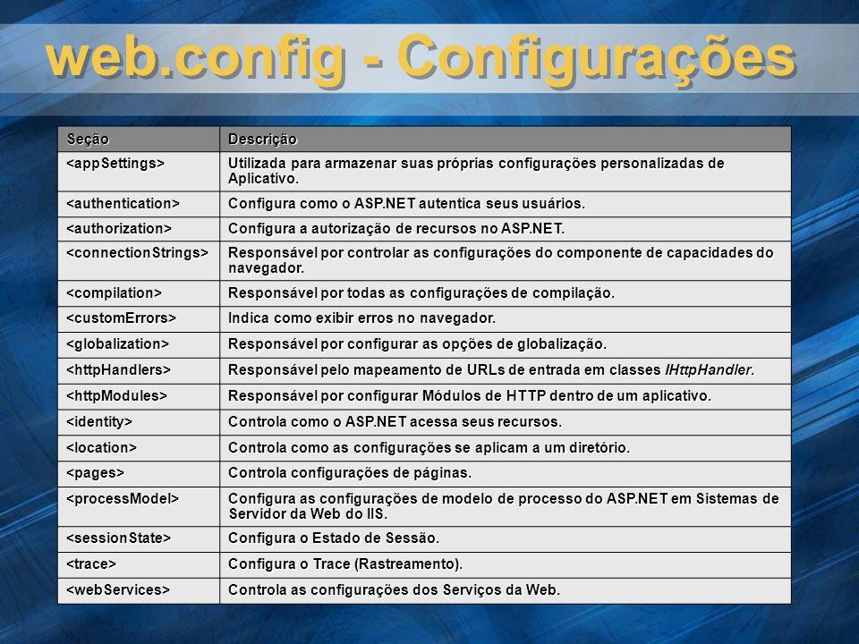 web.config - Configurações