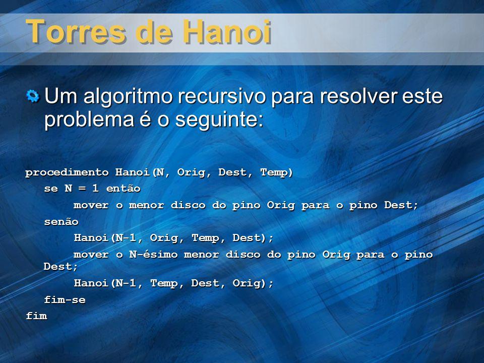 Torres de Hanoi Um algoritmo recursivo para resolver este problema é o seguinte: procedimento Hanoi(N, Orig, Dest, Temp)