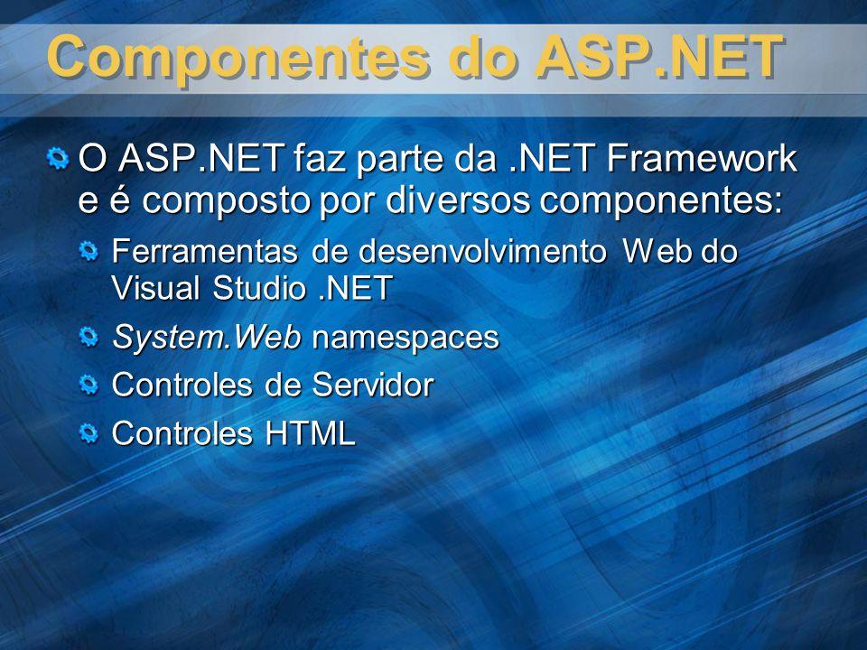 Componentes do ASP.NET O ASP.NET faz parte da .NET Framework e é composto por diversos componentes: