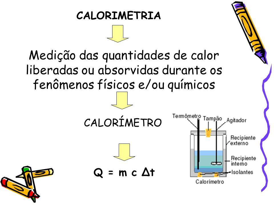 CALORIMETRIA Medição das quantidades de calor liberadas ou absorvidas durante os fenômenos físicos e/ou químicos.