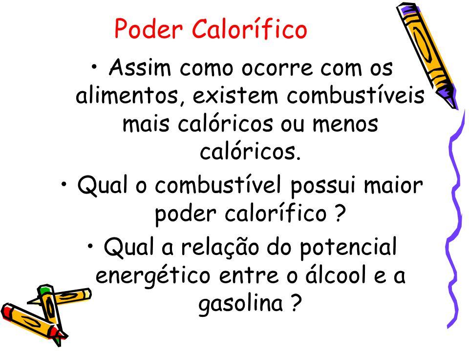 Poder Calorífico Assim como ocorre com os alimentos, existem combustíveis mais calóricos ou menos calóricos.
