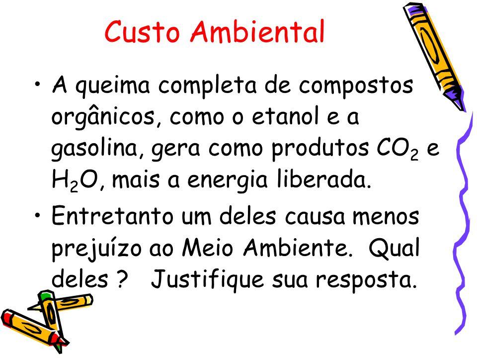 Custo Ambiental A queima completa de compostos orgânicos, como o etanol e a gasolina, gera como produtos CO2 e H2O, mais a energia liberada.