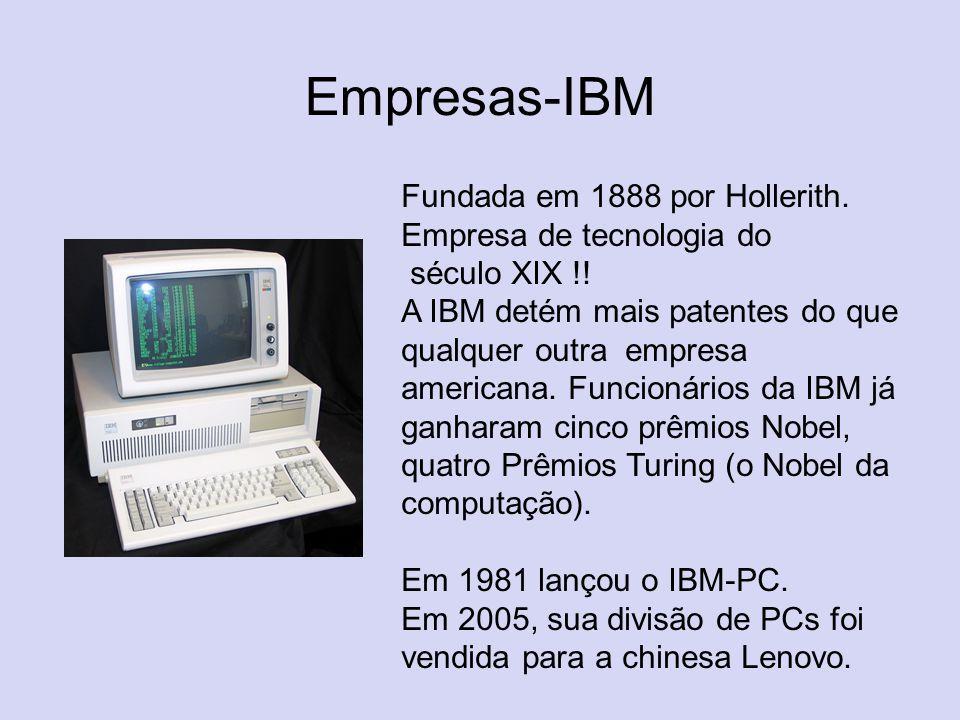 Empresas-IBM Fundada em 1888 por Hollerith. Empresa de tecnologia do século XIX !!