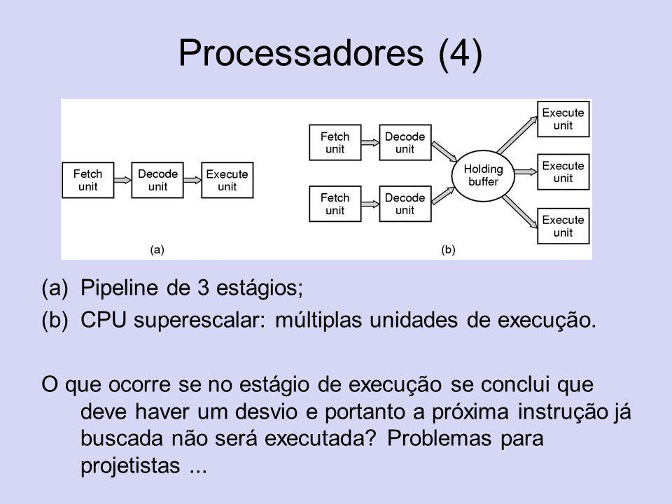 Processadores (4) Pipeline de 3 estágios;