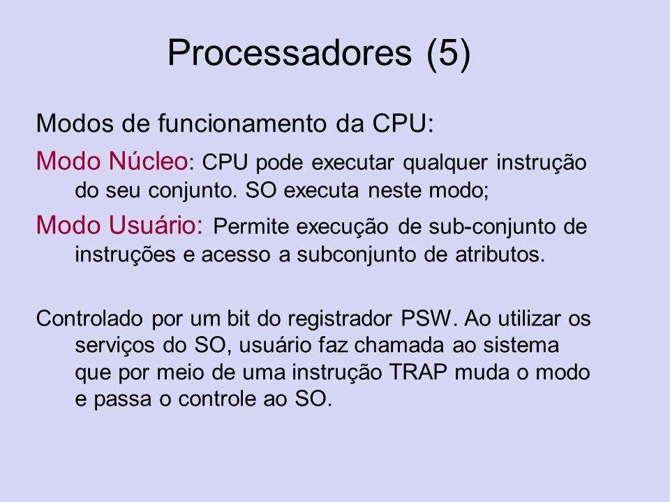 Processadores (5) Modos de funcionamento da CPU: