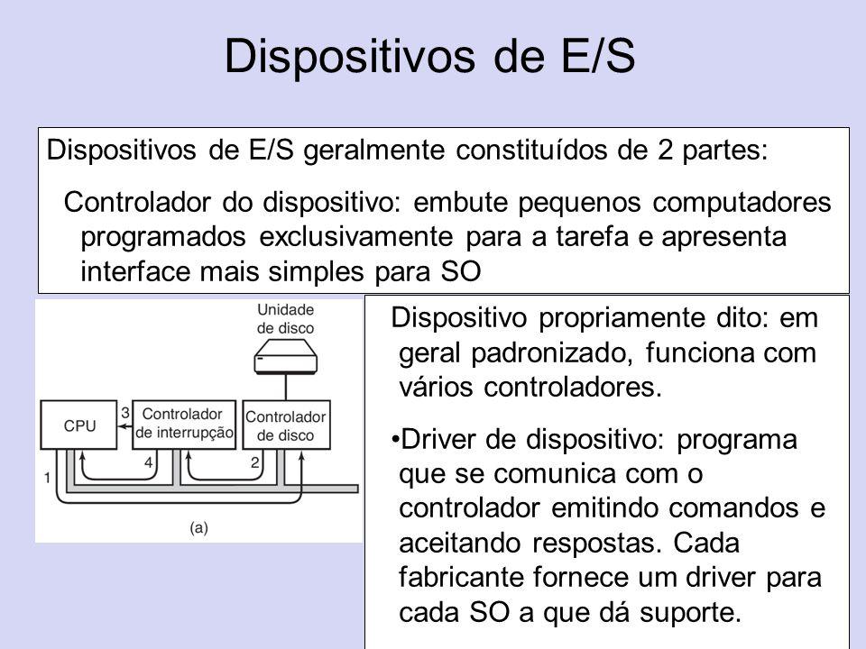 Dispositivos de E/S Dispositivos de E/S geralmente constituídos de 2 partes: