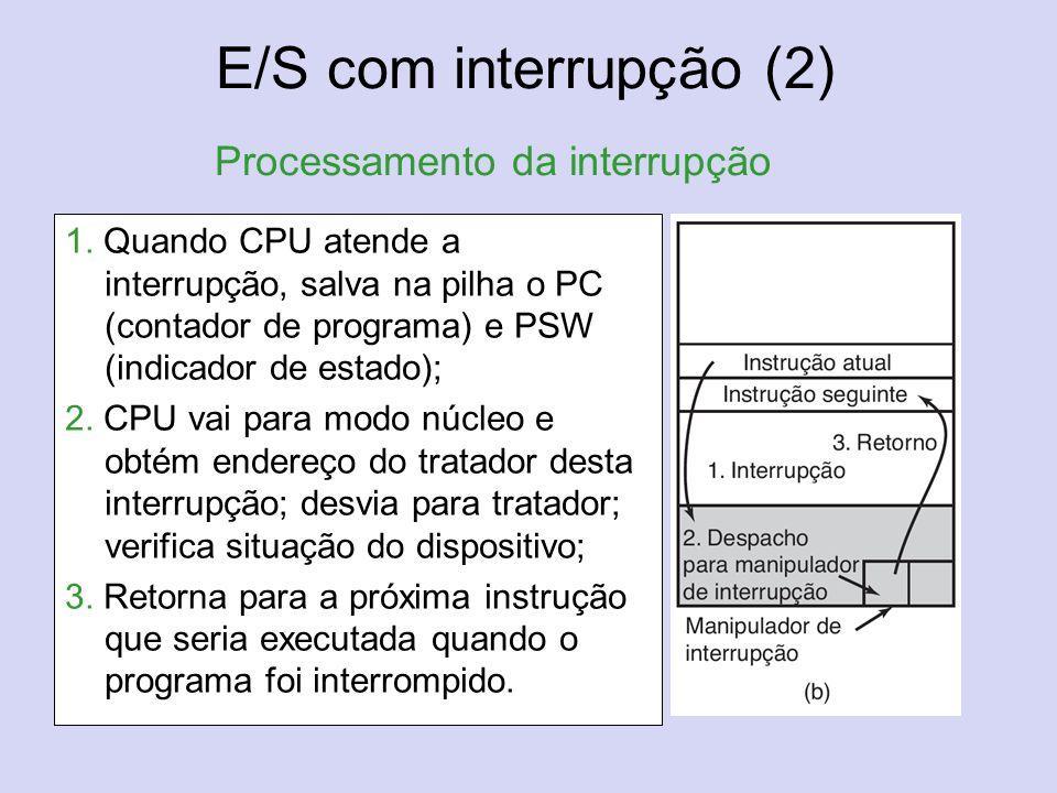 E/S com interrupção (2) Processamento da interrupção