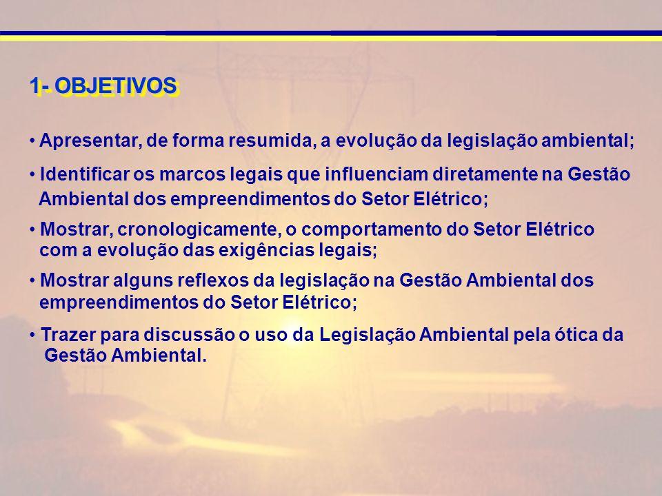 1- OBJETIVOS Apresentar, de forma resumida, a evolução da legislação ambiental; Identificar os marcos legais que influenciam diretamente na Gestão.
