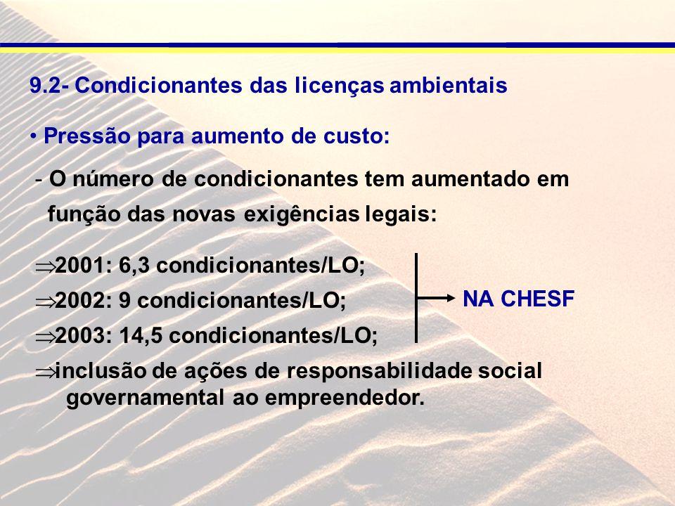 9.2- Condicionantes das licenças ambientais