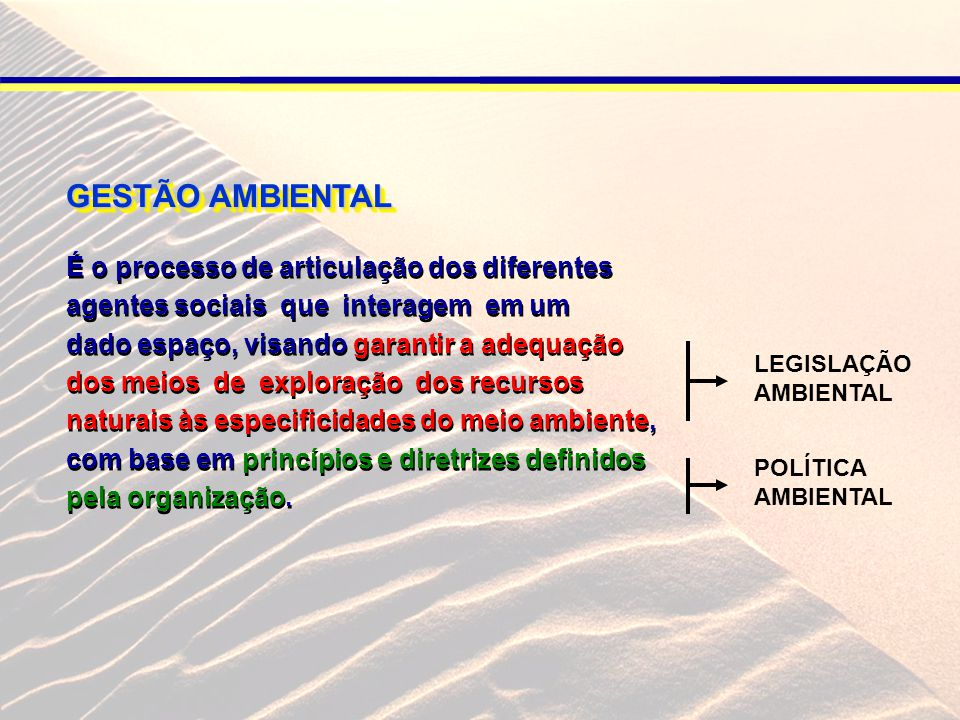 GESTÃO AMBIENTAL É o processo de articulação dos diferentes