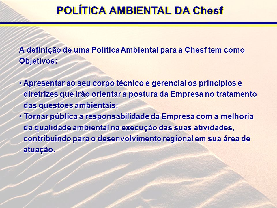 POLÍTICA AMBIENTAL DA Chesf