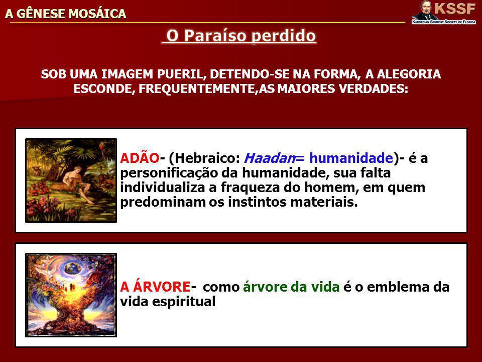 A GÊNESE MOSÁICA O Paraíso perdido. SOB UMA IMAGEM PUERIL, DETENDO-SE NA FORMA, A ALEGORIA ESCONDE, FREQUENTEMENTE,AS MAIORES VERDADES: