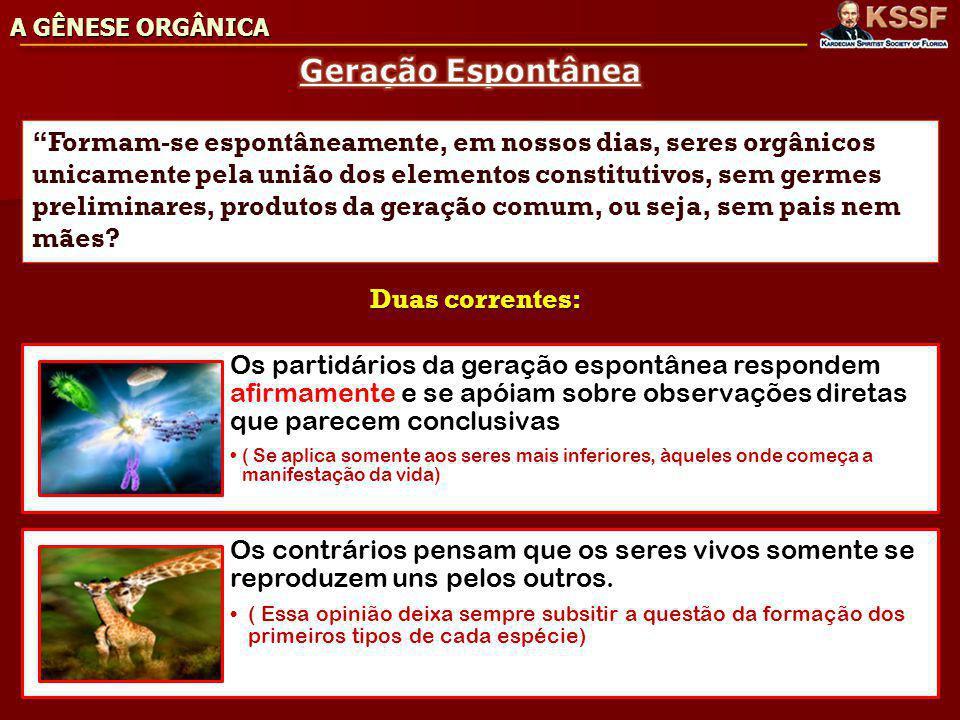 A GÊNESE ORGÂNICA Geração Espontânea.