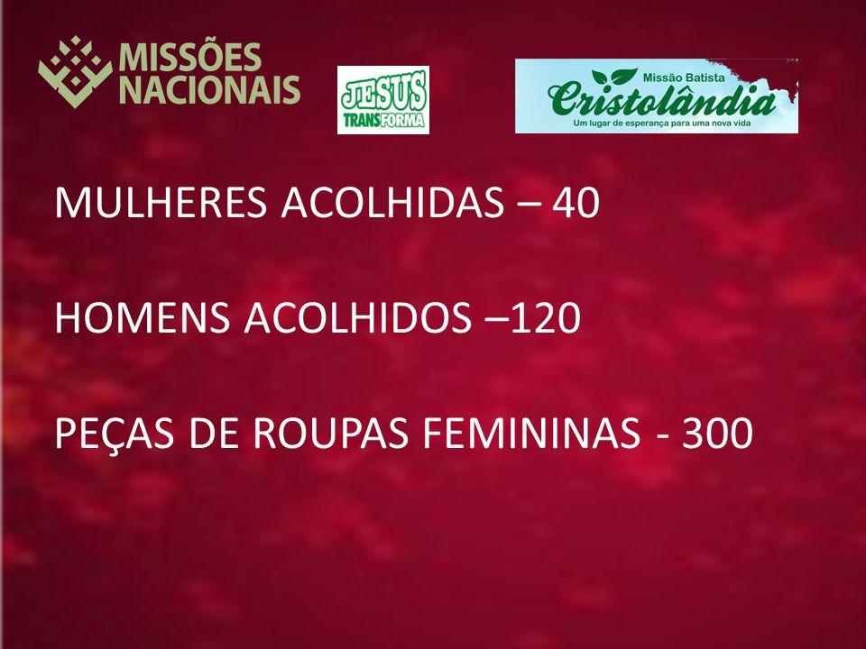 MULHERES ACOLHIDAS – 40 HOMENS ACOLHIDOS –120 PEÇAS DE ROUPAS FEMININAS - 300