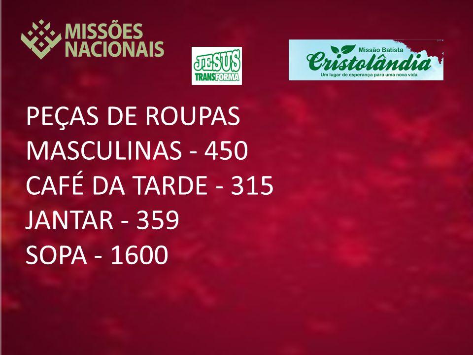 PEÇAS DE ROUPAS MASCULINAS - 450 CAFÉ DA TARDE - 315 JANTAR - 359 SOPA - 1600