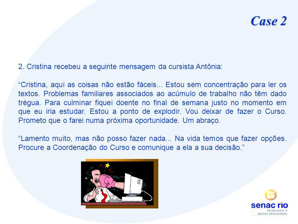 Case 2 2. Cristina recebeu a seguinte mensagem da cursista Antônia: