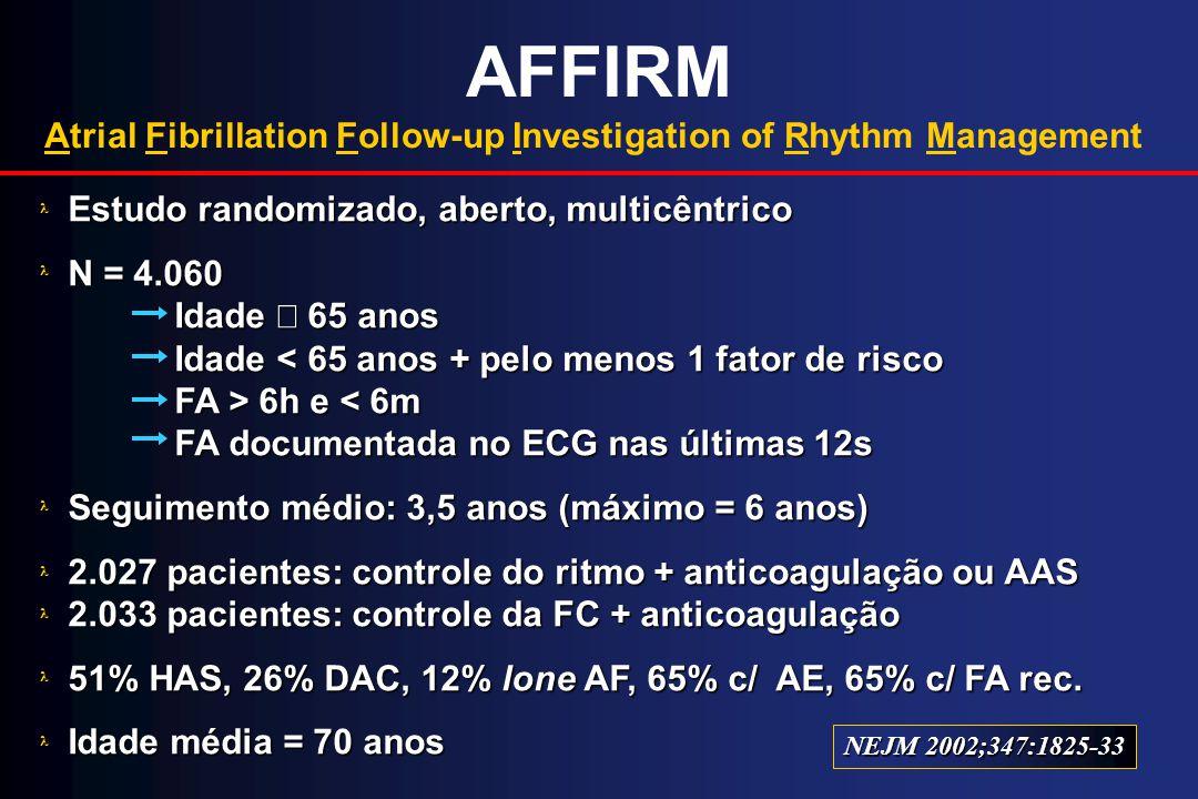 AFFIRM Atrial Fibrillation Follow-up Investigation of Rhythm Management. Estudo randomizado, aberto, multicêntrico.