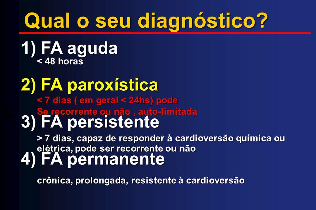 Qual o seu diagnóstico 1) FA aguda 2) FA paroxística