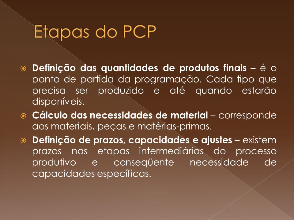 Etapas do PCP