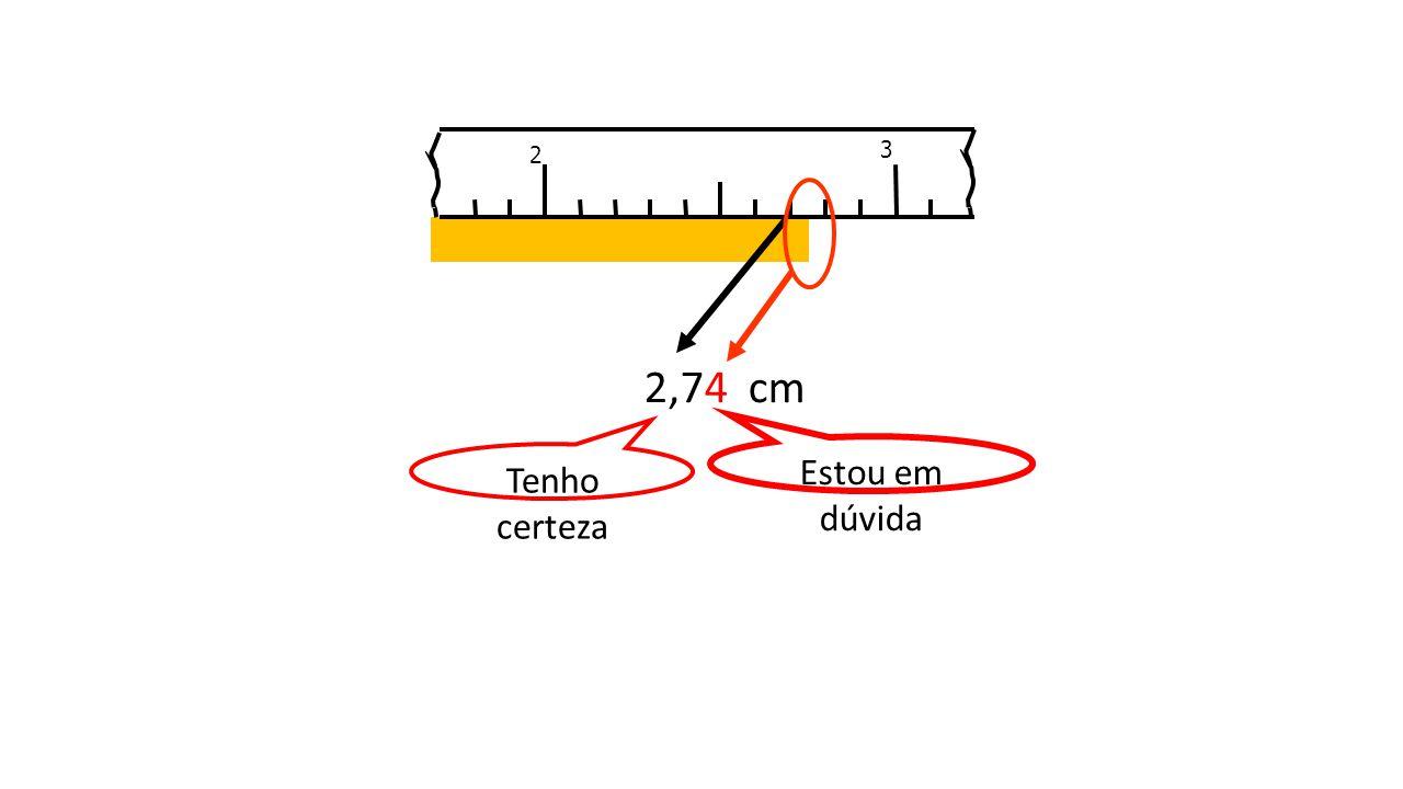 2 3 2,74 cm Tenho certeza Estou em dúvida