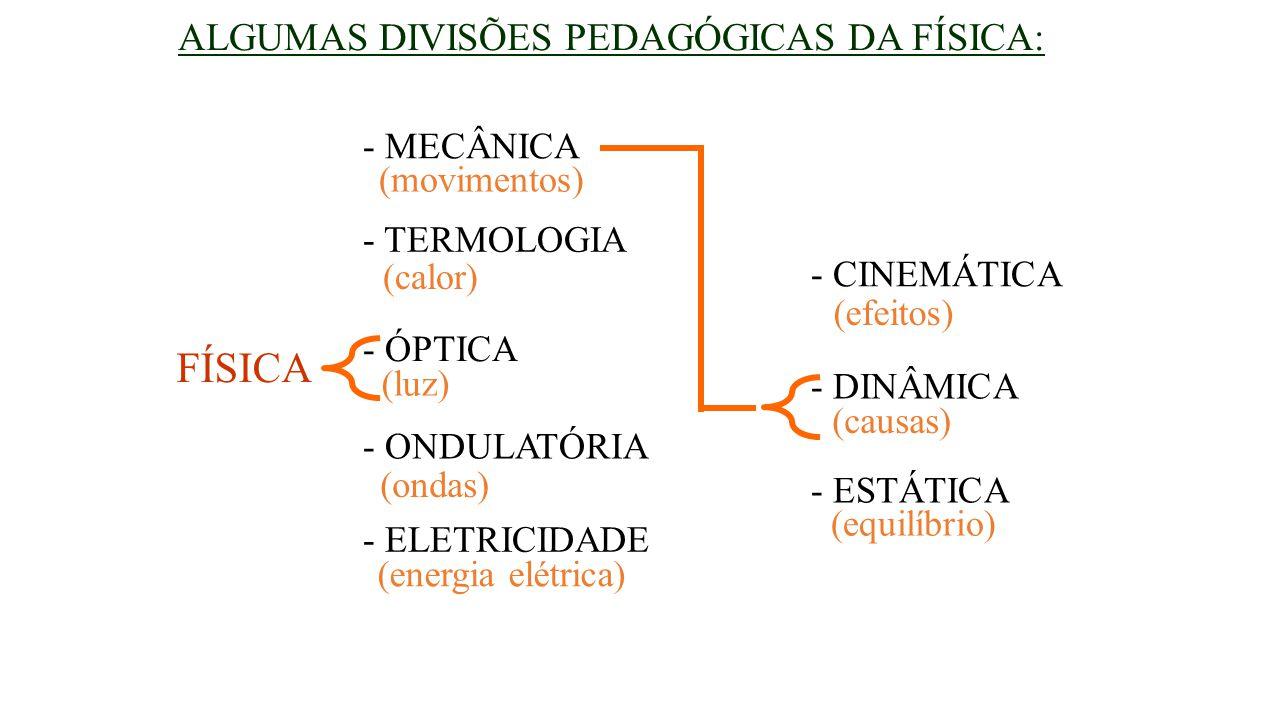 FÍSICA ALGUMAS DIVISÕES PEDAGÓGICAS DA FÍSICA: - MECÂNICA (movimentos)