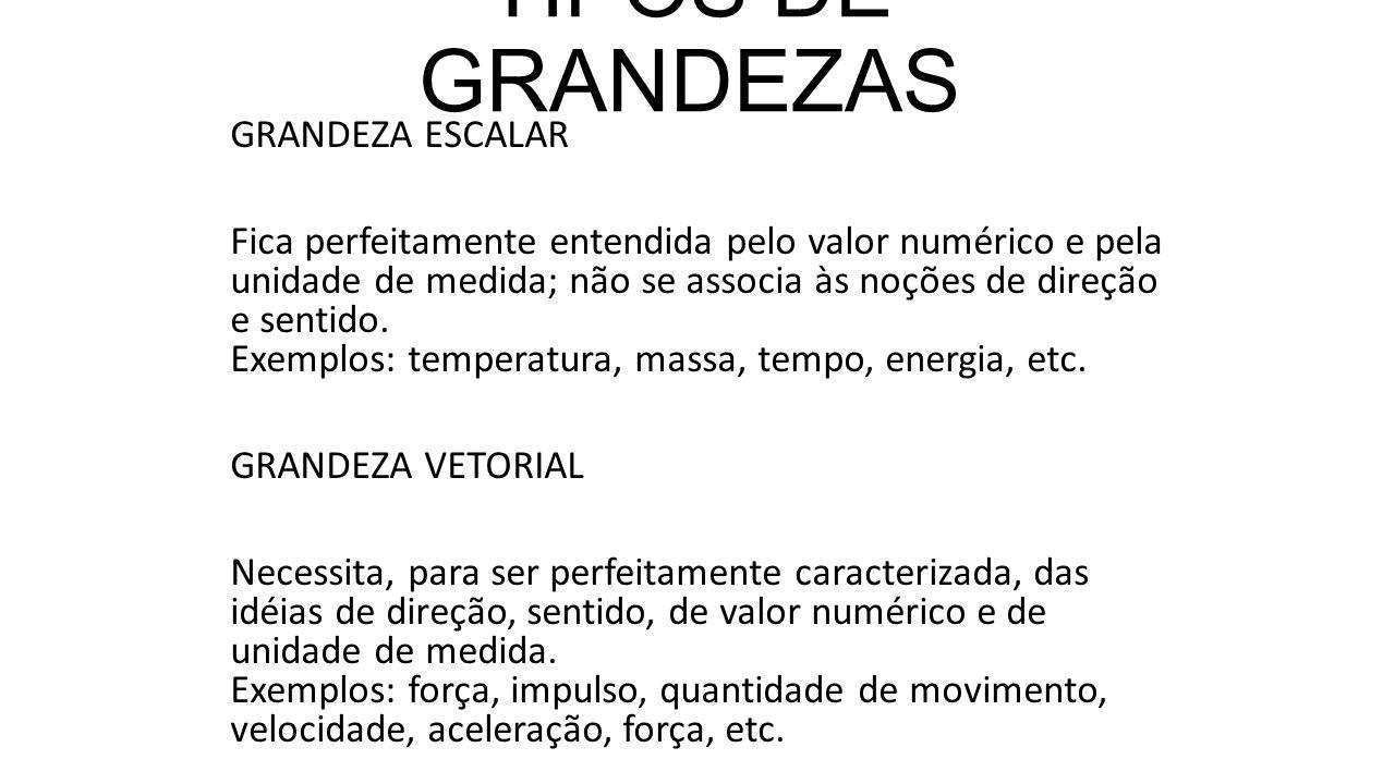 TIPOS DE GRANDEZAS GRANDEZA ESCALAR