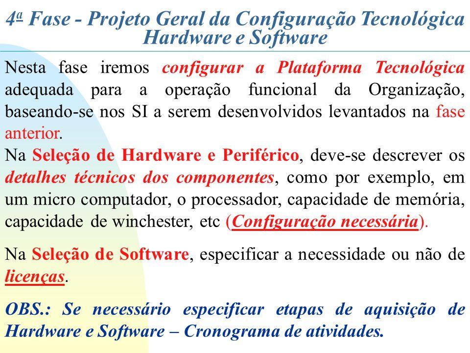 4a Fase - Projeto Geral da Configuração Tecnológica Hardware e Software