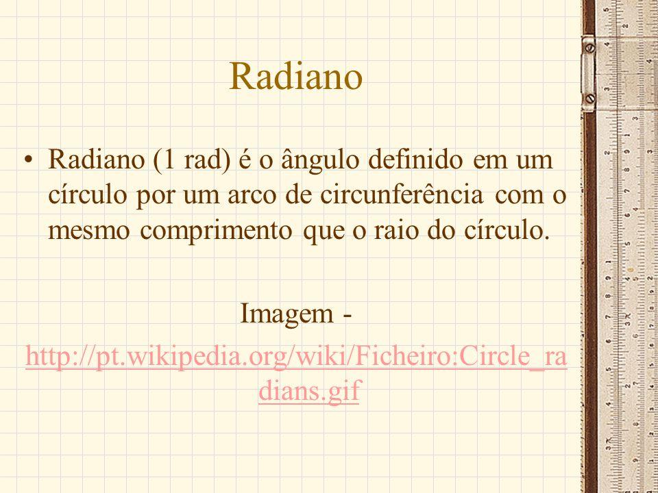 Radiano Radiano (1 rad) é o ângulo definido em um círculo por um arco de circunferência com o mesmo comprimento que o raio do círculo.