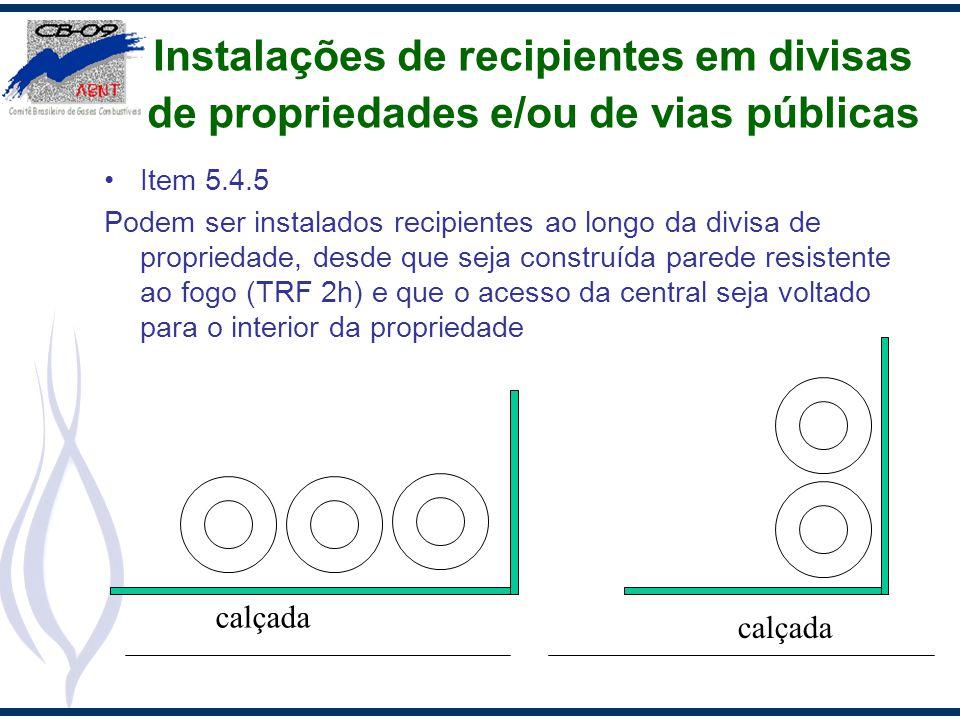 Instalações de recipientes em divisas de propriedades e/ou de vias públicas