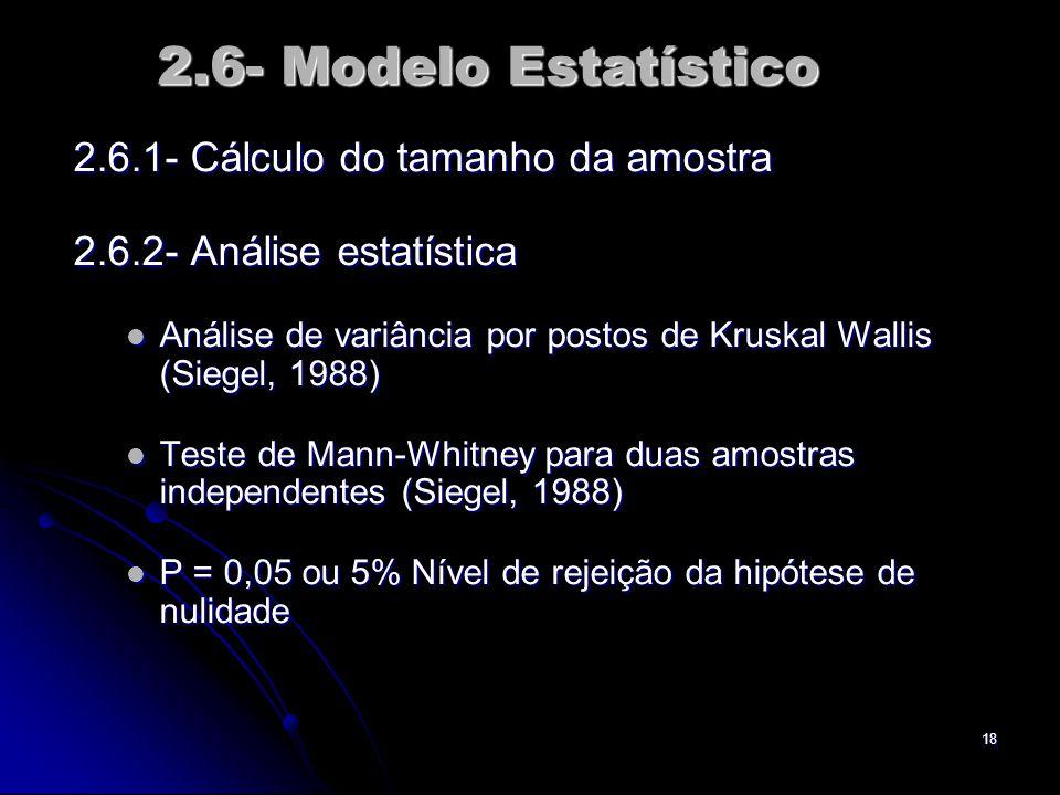 2.6- Modelo Estatístico 2.6.1- Cálculo do tamanho da amostra