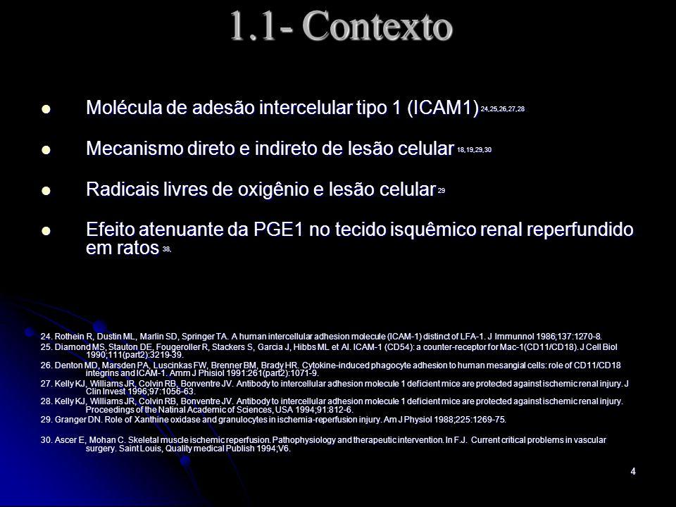 1.1- Contexto Molécula de adesão intercelular tipo 1 (ICAM1) 24,25,26,27,28. Mecanismo direto e indireto de lesão celular 18,19,29,30.