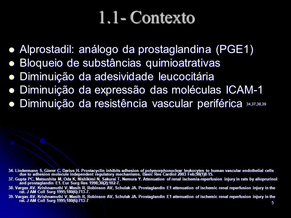 1.1- Contexto Alprostadil: análogo da prostaglandina (PGE1)
