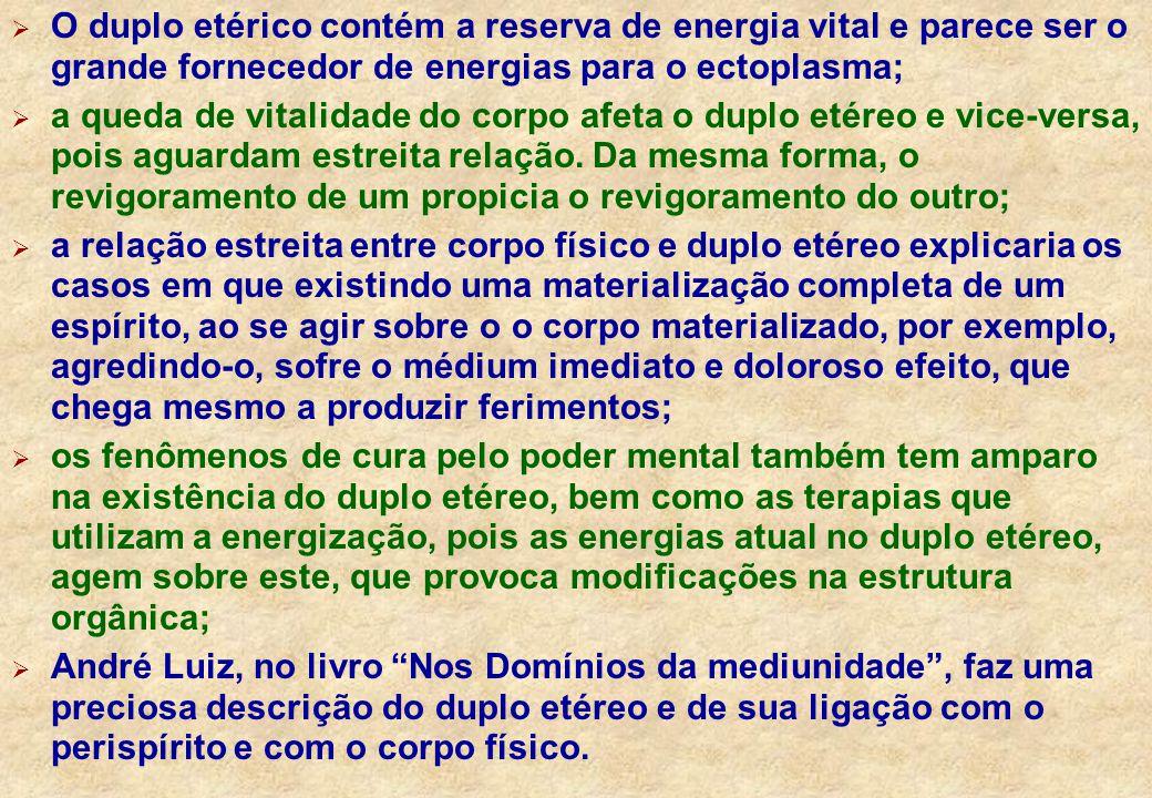 O duplo etérico contém a reserva de energia vital e parece ser o grande fornecedor de energias para o ectoplasma;