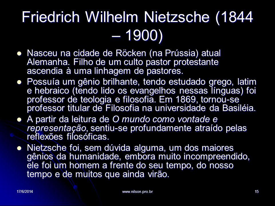 Friedrich Wilhelm Nietzsche (1844 – 1900)