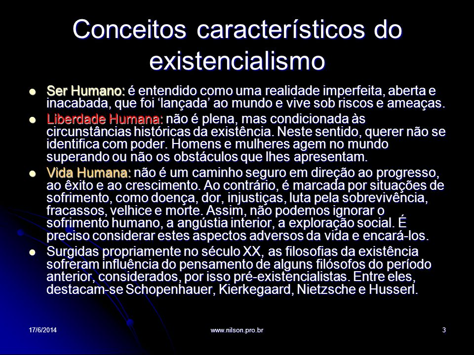 Conceitos característicos do existencialismo