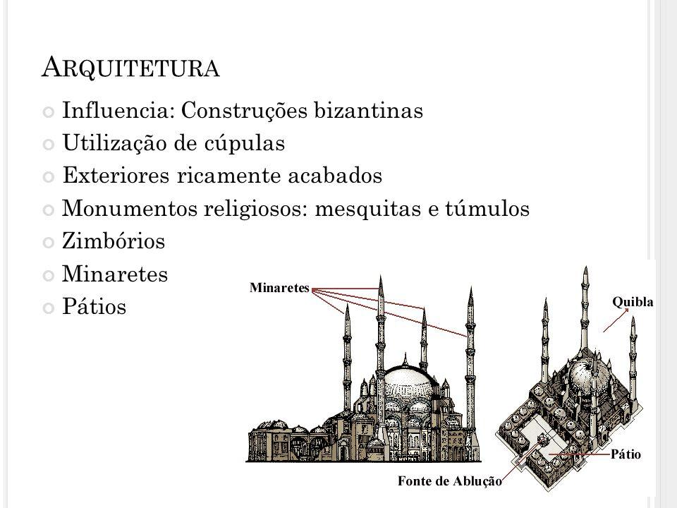 Arquitetura Influencia: Construções bizantinas Utilização de cúpulas