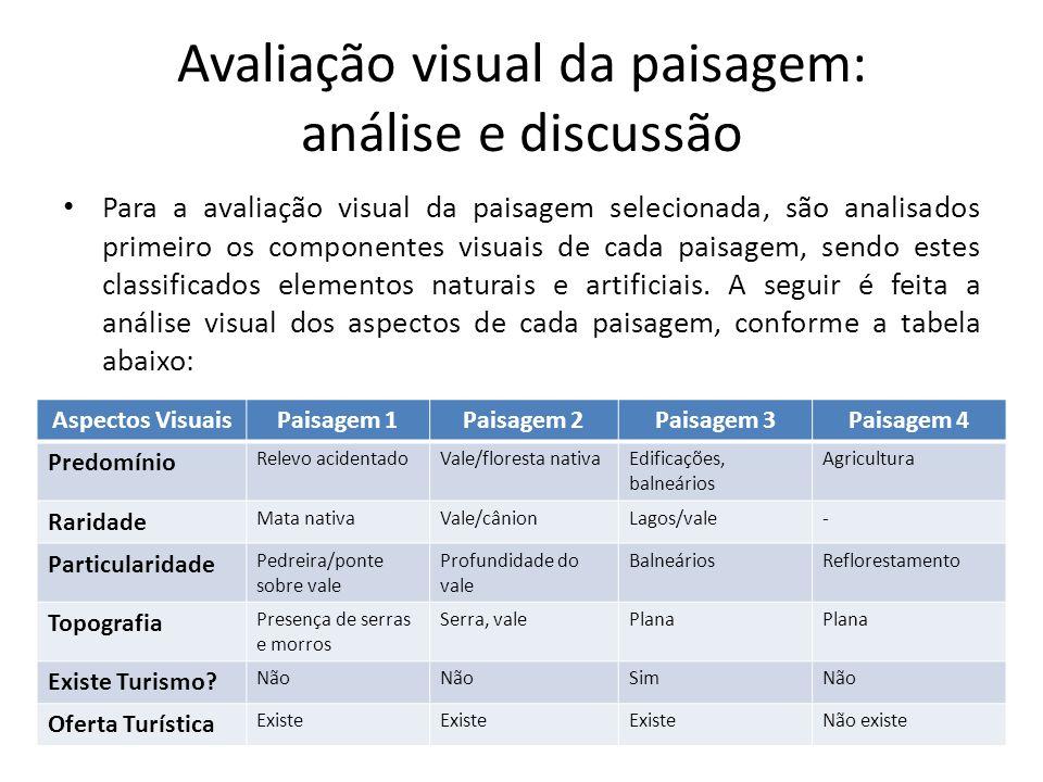 Avaliação visual da paisagem: análise e discussão