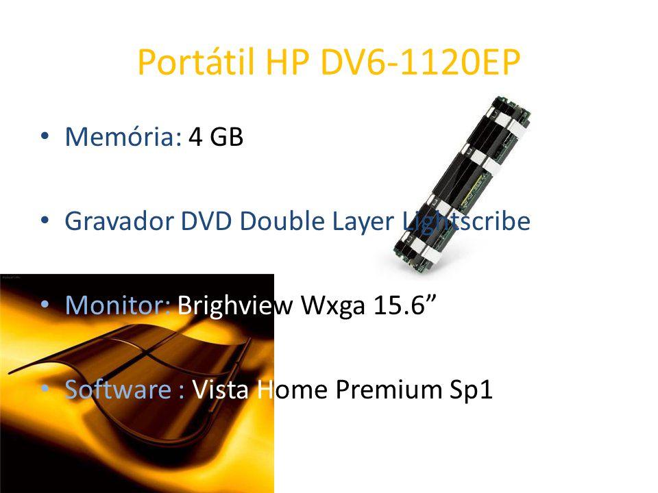 Portátil HP DV6-1120EP Memória: 4 GB