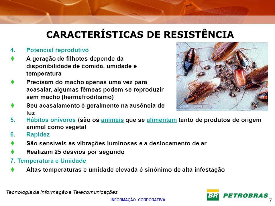 CARACTERÍSTICAS DE RESISTÊNCIA INFORMAÇÃO CORPORATIVA